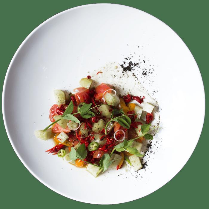 Ensalada de Tomates platillo Los Danzantes Oaxaca